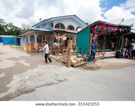 Bau,Kuching,Sarawak-December 13,2015:Undentified people with crafts  in the town of Serikin,Bau,Kuching,Sarawak.