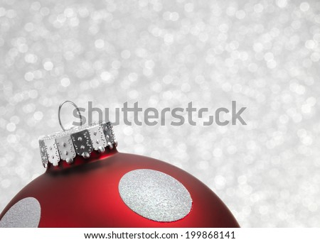 Bauble close up with a silver background