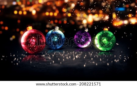 Baubles Christmas Night Bokeh Beautiful 3D Background Red Blue Purple Green - stock photo