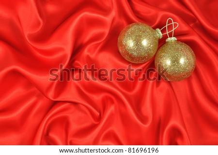 Baubles on Crimson Satin - stock photo