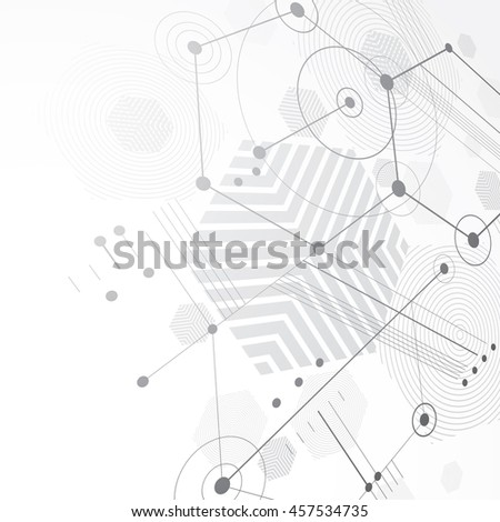 Bauhaus retro wallpaper, perspective black and white art background made using lines and honeycombs. Geometric graphic 1960s illustration can be used as booklet cover design.