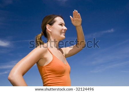Bauty girl watches out - stock photo