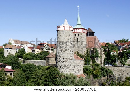 Bautzen, Saxony, Germany - September 13, 2008: View of the Old Town of Bautzen in Saxony with the Old Waterworks and Church Saint Michael.