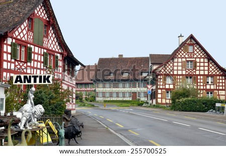 BAVARIA, GERMANY - APRIL 21: Traditional Bavarian village with its houses and empty streets. Bavaria, Germany - Apr 24, 2014 - stock photo