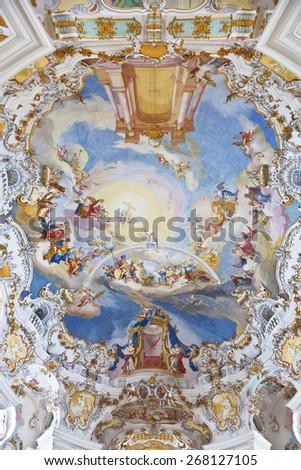 BAVARIA, GERMANY - DECEMBER 21, 2012: World heritage wall and ceiling frescoes of wieskirche church in bavaria, Germany, Europe - stock photo