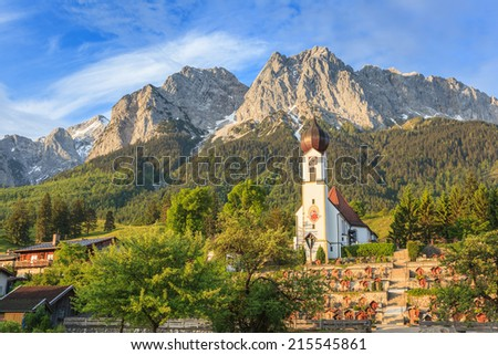 Bavaria landscape and Zugspitze top of Germany - stock photo