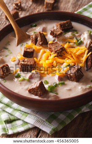 Bavarian beer soup with cheese and bacon close up in a bowl on the table. vertical