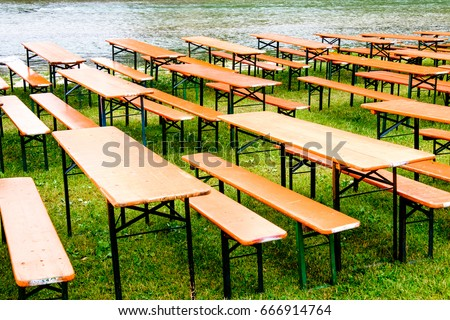 Bavarian Beergarden Table Benches River Stock Photo (Royalty Free ...