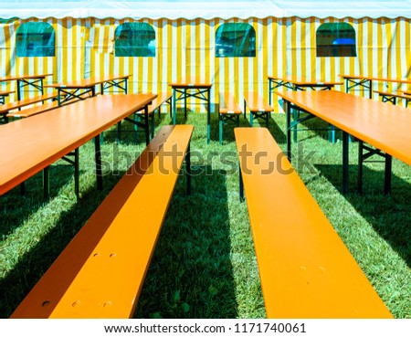 Bavarian Beergarden Table Benches Tent Stock Photo (Edit Now ...
