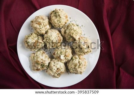Bavarian bread dumplings, semmelknoedel, ready to be cooked. - stock photo