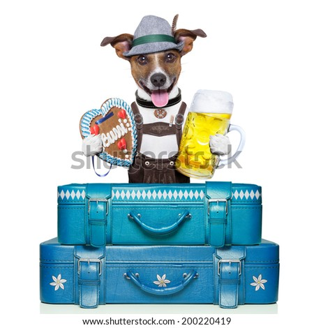 bavarian dog with luggage, beer, and gingerbread heart - stock photo