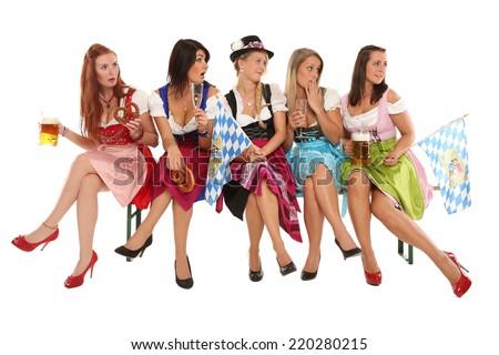 bavarian girls group - stock photo