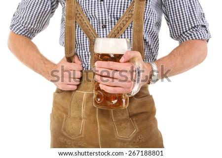 bavarian guy with bavarian beer  - stock photo