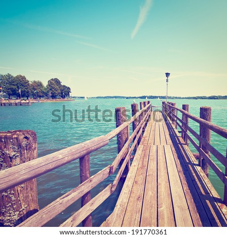 Bavarian lake Chiemsee in Germany, Instagram Effect - stock photo