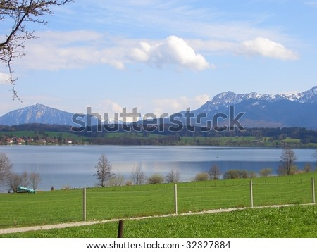 Bavarian Lake with Mountains