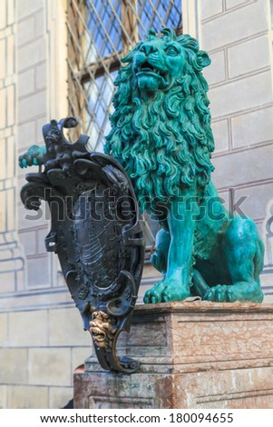 Bavarian Lion Statue in front of Munich Residenz, Bavaria, Germany - stock photo