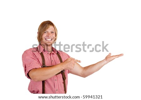 Bavarian man with oktoberfest leather trousers (Lederhose) points with finger on open palm.  Isolated on white background. - stock photo