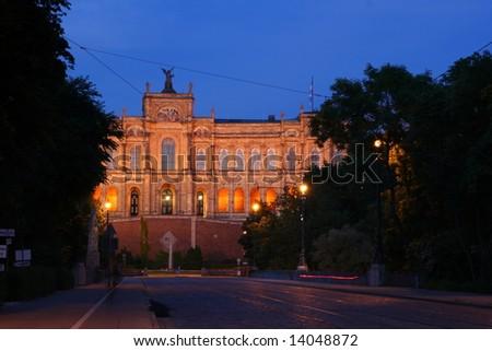 Bavarian Parliament in Munich, Maximilianaeum, at dusk - stock photo
