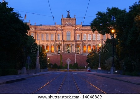 Bavarian Parliament in Munich, Maximilianaeum, centered view at dusk - stock photo