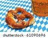 "Bavarian pretzel and beer at the festival ""Oktoberfest"" in Munich - stock photo"