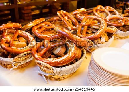 bavarian pretzels - stock photo