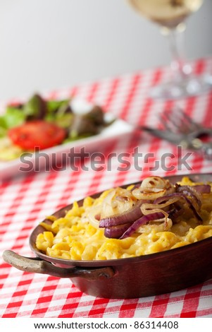 bavarian spaetzle noodles with cheese - stock photo