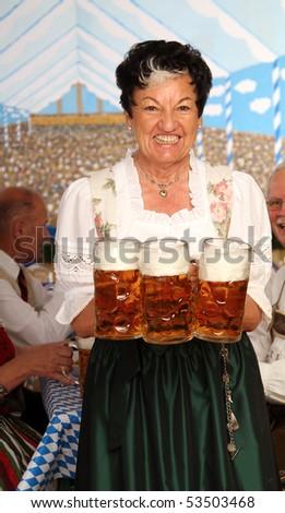 Bavarian waitress - stock photo