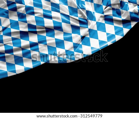 Bavarian waving flag on black background - stock photo