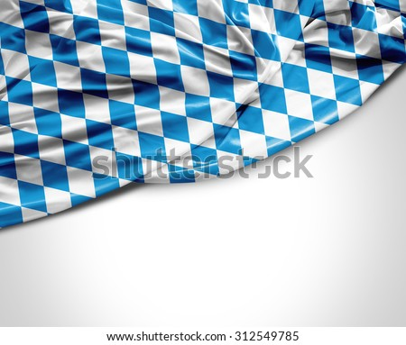 Bavarian waving flag on white background - stock photo
