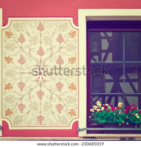 Bavarian Window Decorated with Fresh Flowers, Instagram Effect - stock photo