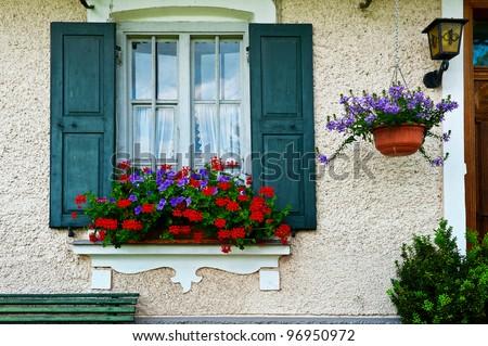 Bavarian Window Open Wooden Shutters Decorated Stock Photo Royalty Free 96950972 Shutterstock