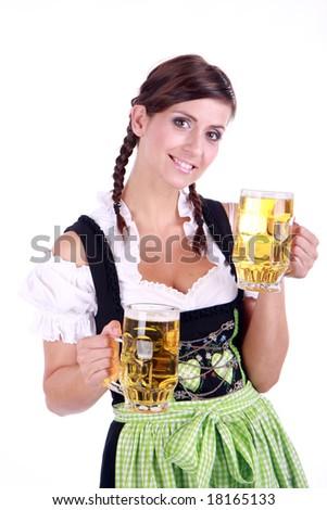 Bavarian woman celebrating the oktoberfest - stock photo