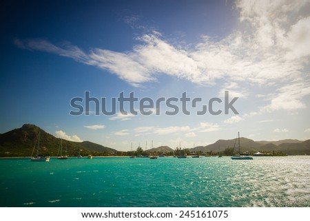 bay at Antigua, caribbean sea - stock photo