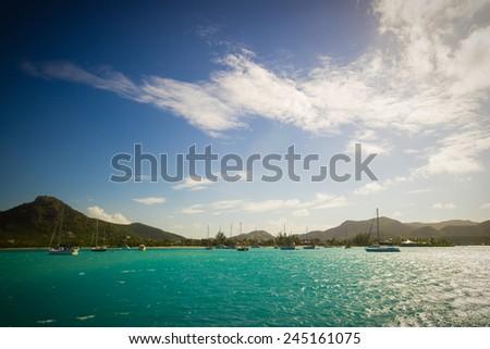 bay at Antigua, caribbean sea - stock photo
