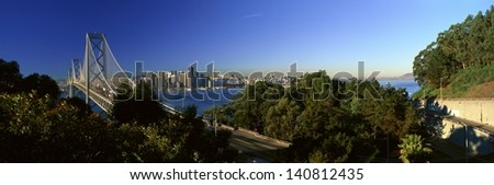 Bay Bridge and downtown San Francisco from Treasure Island, San Francisco, California - stock photo