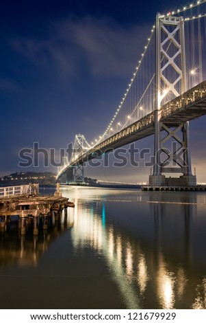 Bay Bridge and the reflection at Night in San Francisco