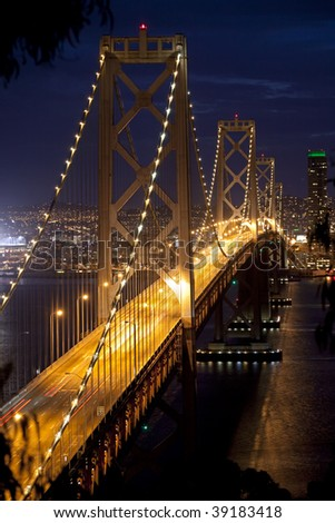 Bay Bridge at Night - stock photo