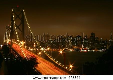 Bay Bridge at Night - stock photo