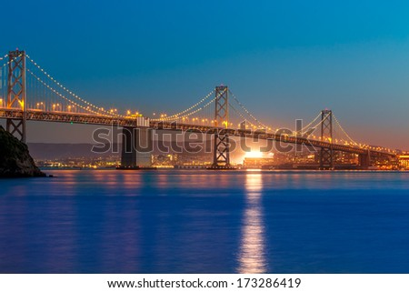 Bay Bridge at sunset in San Francisco from Treasure Island California USA