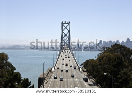 Bay Bridge between Oakland and San Francisco California. - stock photo