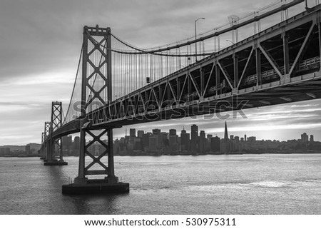 Bay Bridge, connect between San Francisco and Oakland, Black and White