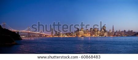 bay bridge into the city of san francisco - stock photo
