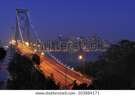 Bay Bridge with city of San Francisco, California, USA - stock photo