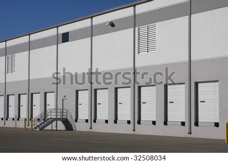 Bay doors in a warehouse