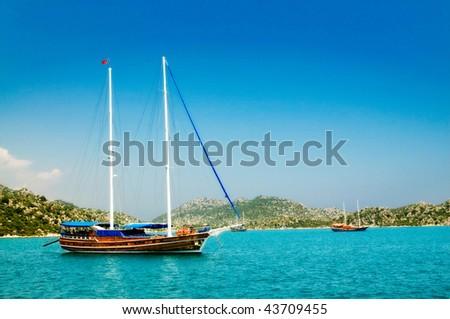 Bay in mediterranean sea with yachts in the Kekova. Turkey. - stock photo