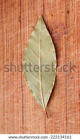 Bay leaf on wooden background