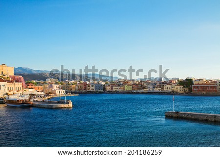 bay of Chania with historical houses at sunny day, Crete, Greece - stock photo