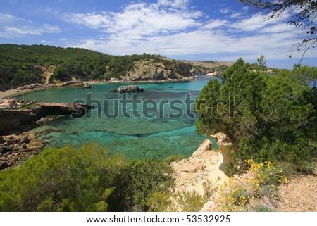 Bay of Ibiza coast line - stock photo