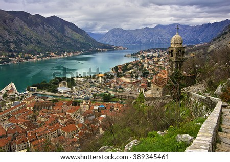 Bay of Kotor and the old town of Kotor in a thunderstorm, Montenegro - stock photo