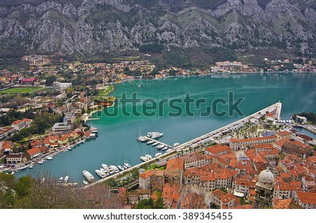 Bay of Kotor and the old town of Kotor, Montenegro - stock photo